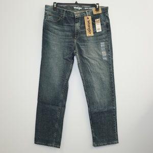 Wrangler Slim Straight Blue Denim Jeans 38 x 32